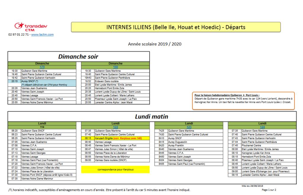 horaires des bus Illiens au départ de Quiberon